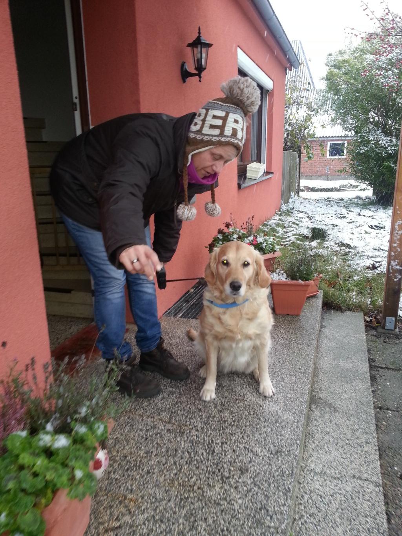 Bijou mit Frauchen Martina